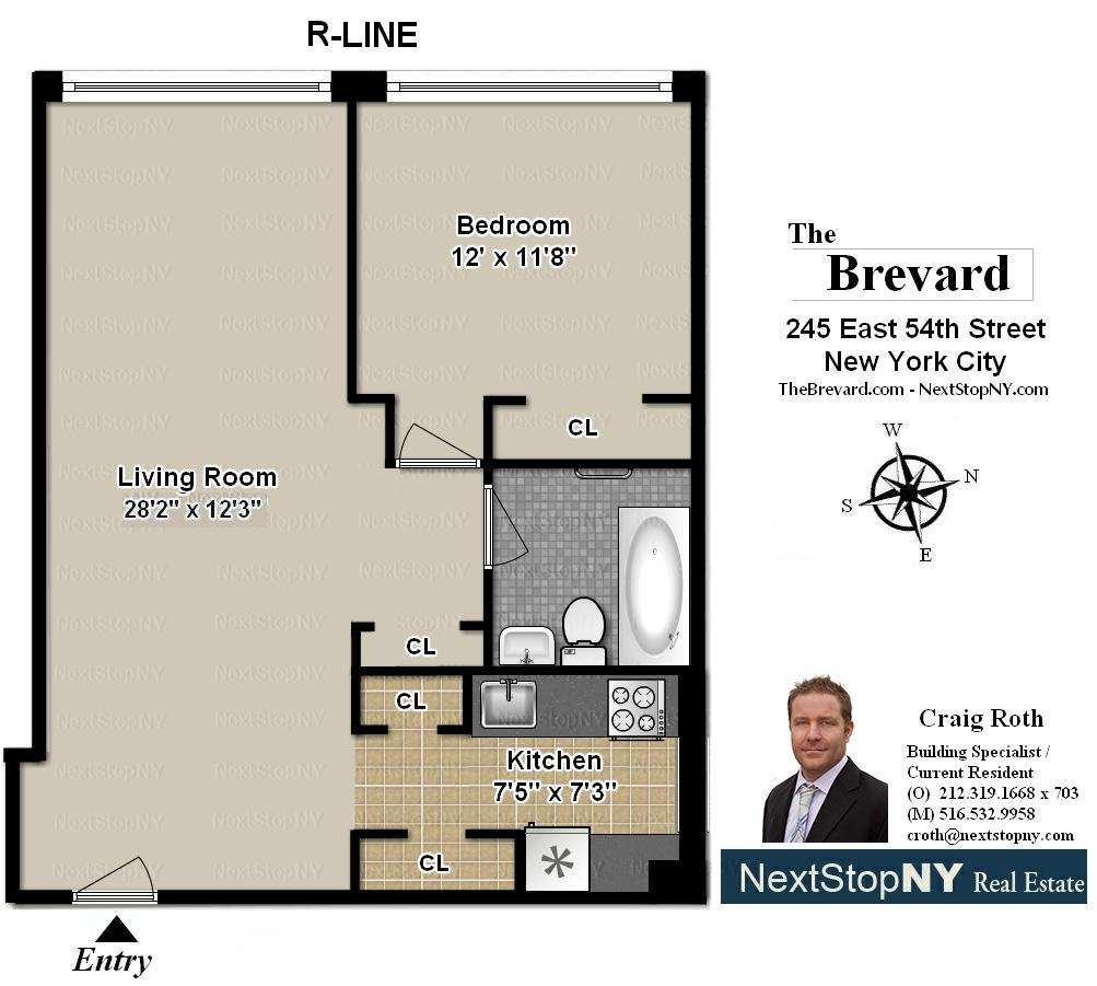 StreetEasy: 245 East 54th St. #5R - Co-op Apartment Sale at The Brevard in Midtown East, Manhattan