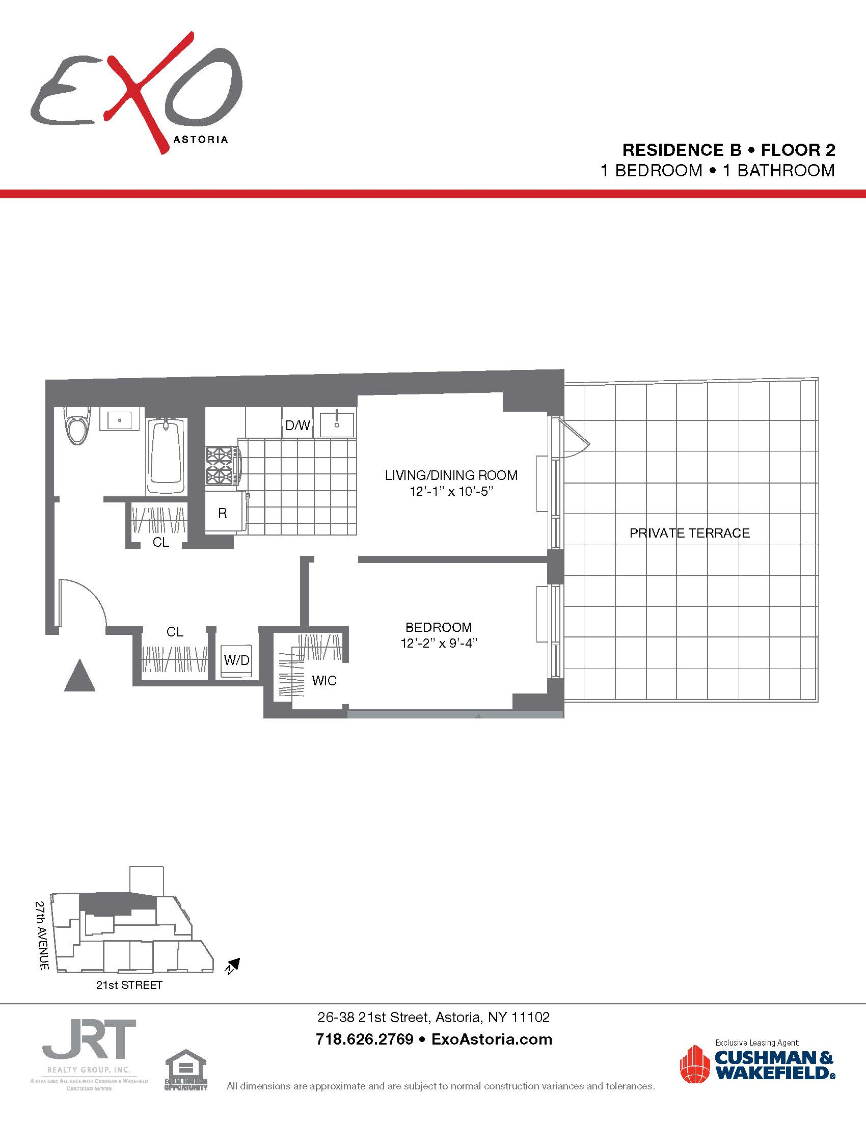 Exo Astoria One Bed Apt 2B with Private Terrace