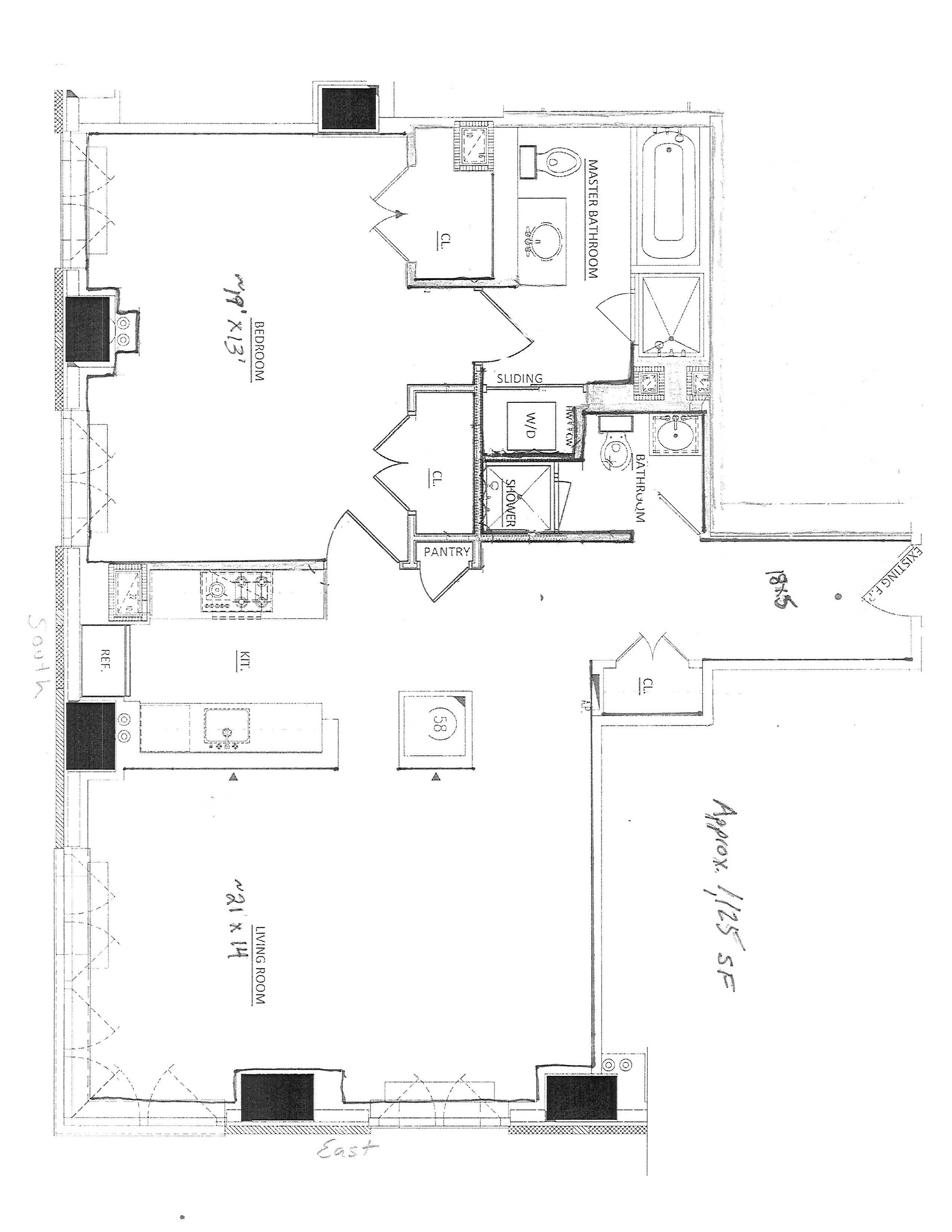 42nd Flr on 5th Ave, South East Corner Open View. Double high windows & 11 ft ceilings. Luxury Re-design. Best in building