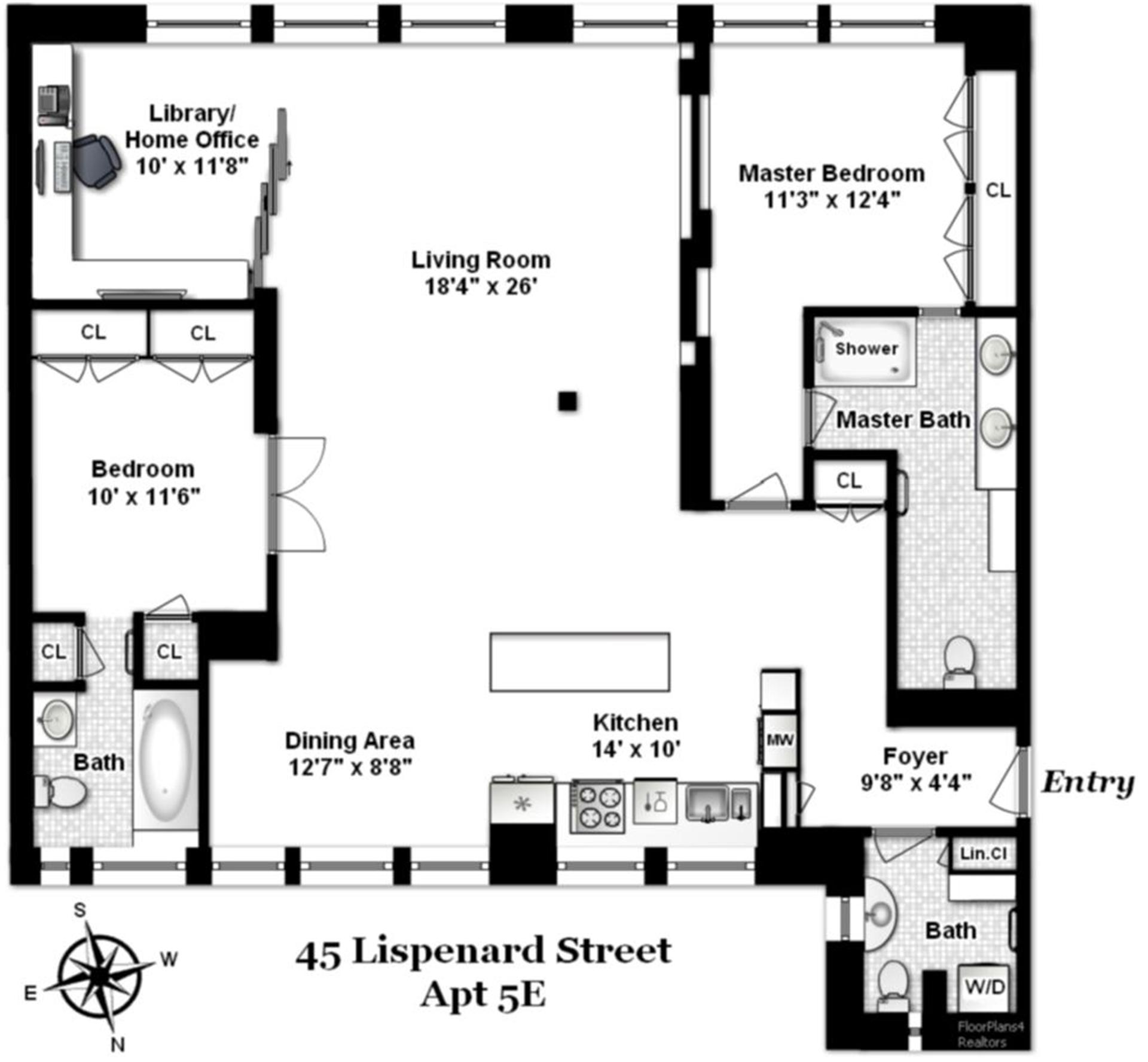 45 lispenard st 5e co op apartment sale in tribeca for Luxury apartment floor plans nyc