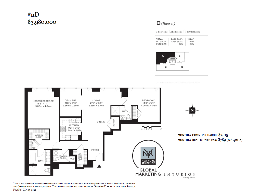 The Centurion - Over 80% sold & closed! 11D features 2 Bedrooms and a Den (can be configured as 3rd Bedroom)