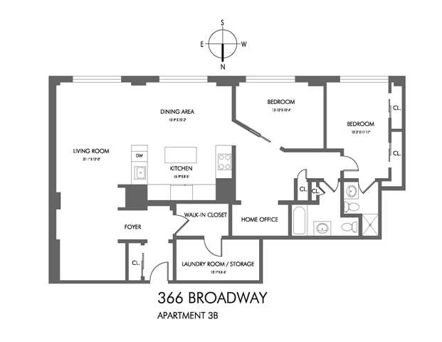 StreetEasy: 366 Broadway #3B - Condo Apartment Sale at The Collect Pond House in Tribeca, Manhattan