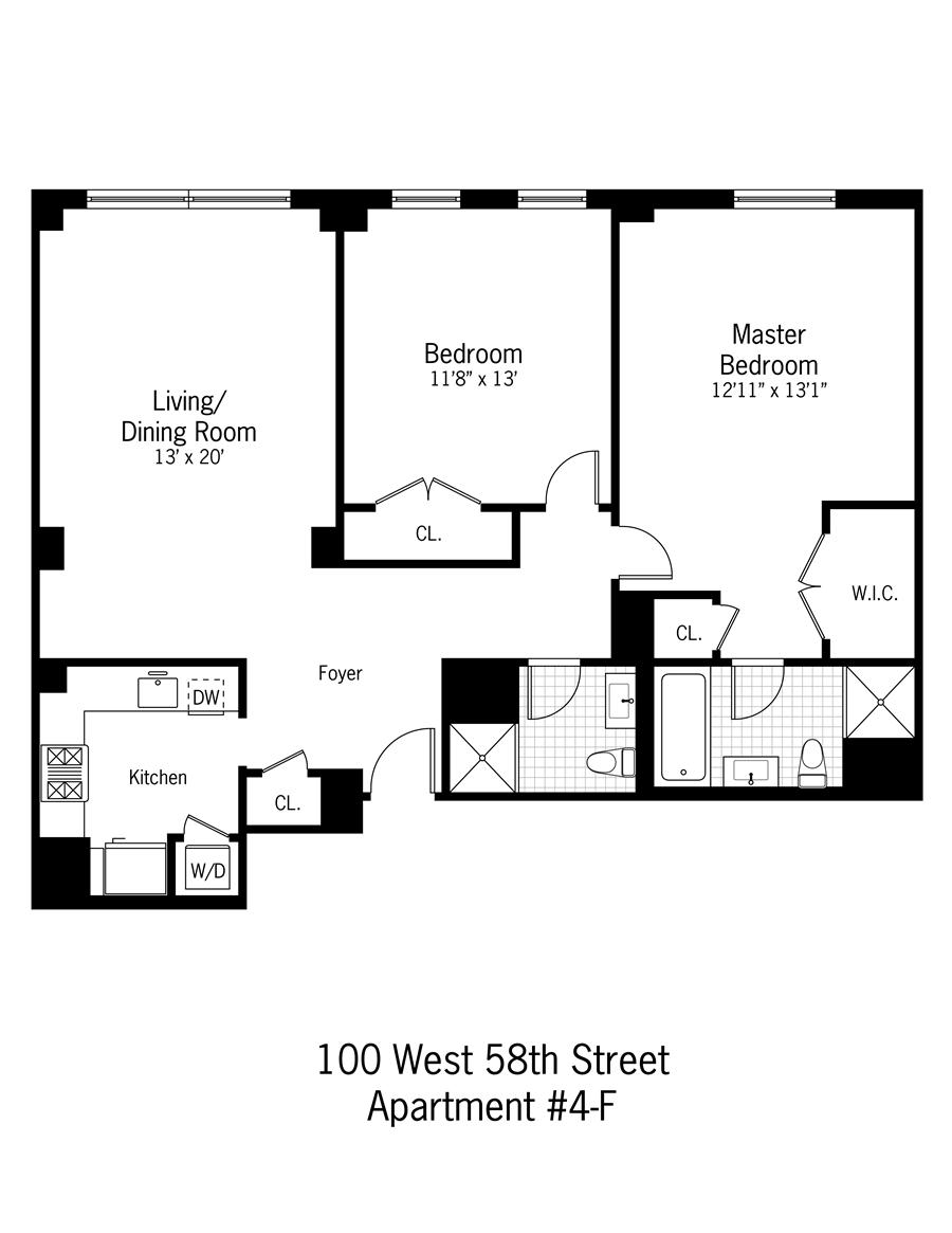 StreetEasy: 100 West 58th St. #4F - Condo Apartment Rental at Windsor Park in Midtown, Manhattan