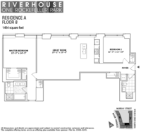floorplan for 1 River Terrace #8A