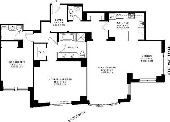 floorplan for 15 central park west 10m