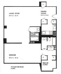 floorplan for 1 River Terrace #10T