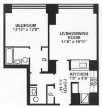 floorplan for 10 West Street #27B