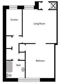 floorplan for 305 West 72nd Street #1B