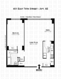floorplan for 401 East 74th Street #6E