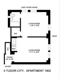 floorplan for 5 Tudor City Place #1920