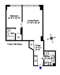 floorplan for 7 East 14th Street #1430