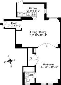 floorplan for 49 West 72nd Street #7C