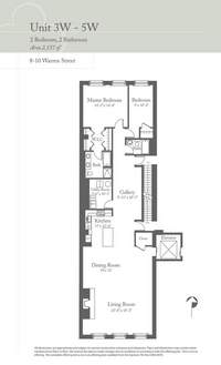 floorplan for 8 Warren Street #3WEST