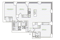 floorplan for 1 River Terrace #19A
