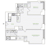 floorplan for 1 River Terrace #5C