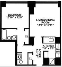 floorplan for 10 West Street #28B