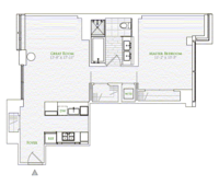 floorplan for 1 River Terrace #14B