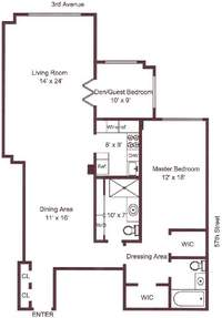 floorplan for 200 East 57th Street #17M