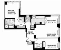 floorplan for 2 Columbus Avenue #19B
