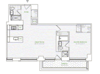 floorplan for 1 River Terrace #16C