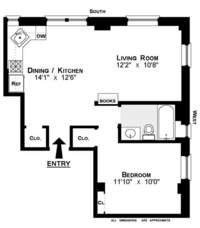 floorplan for 528 West 111th Street #73