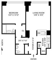 floorplan for 10 West Street #34B