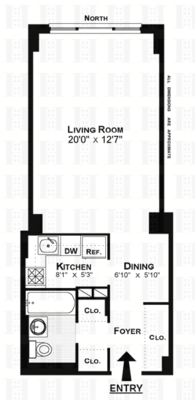 floorplan for 7 East 14th Street #1423