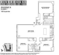 floorplan for 1 River Terrace #7N