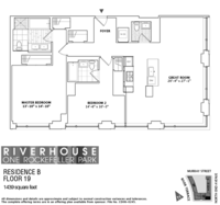 floorplan for 1 River Terrace #19B