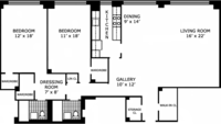 floorplan for 200 East 57th Street #8F