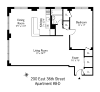 floorplan for 200 East 36th Street #8D