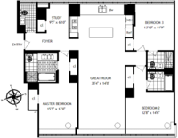 floorplan for 1 River Terrace #6T