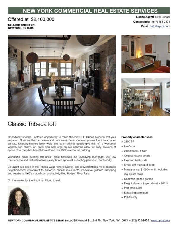 2 BR Live / Work Loft For Sale