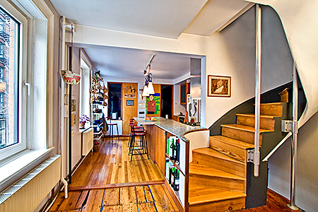 Sunny Townhouse in Premier Tribeca Location Glorious Side Windows Span Entire Length of Building