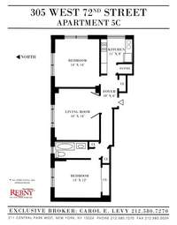 floorplan for 305 West 72nd Street #5C