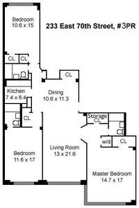 floorplan for 233 East 70th Street