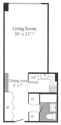 floorplan for 7 East 14th Street #525