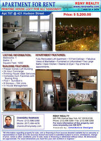 StreetEasy: 421 Hudson St. #707 - Condo Apartment Rental at The Printing House in West Village, Manhattan