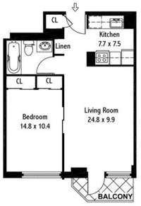 floorplan for 50 Lexington Avenue #18G
